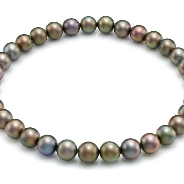 Collar de perlas redondas de tahiti multicolor