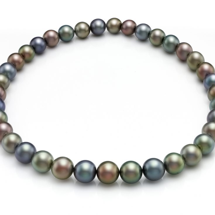 Collar de perlas redondas tahiti multicolor