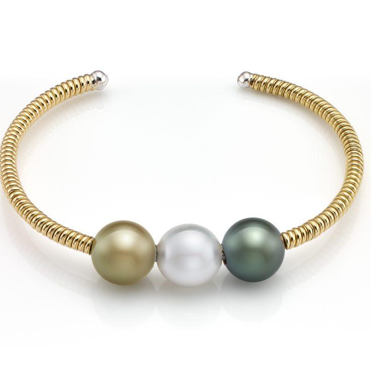 Pulsera de oro de 18 ktes con perla australiana, perla golden y perla de tahiti